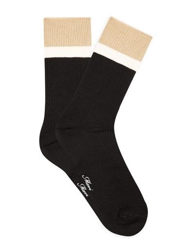 Mavi Bileği Renkli  Soket Çorap Siyah